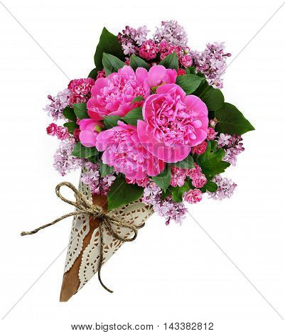 Pink peony flowers bouquet in a craft paper cornet isolated on white
