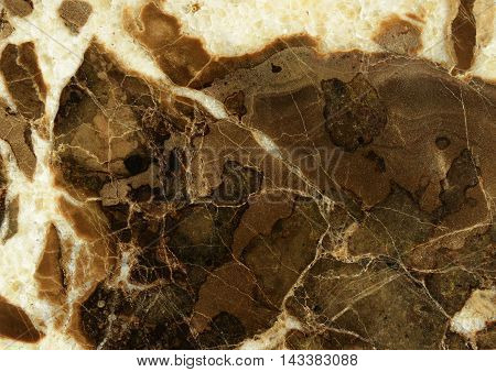 Closeup of brown and white marble texture for background