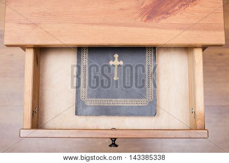 Bible Book In Open Drawer