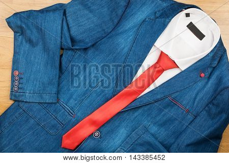 Denim jacket white shirt and red tie men's fashion with space for your text