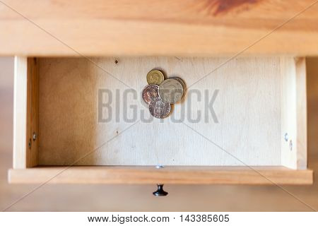 Few Swedish Coins In Open Drawer