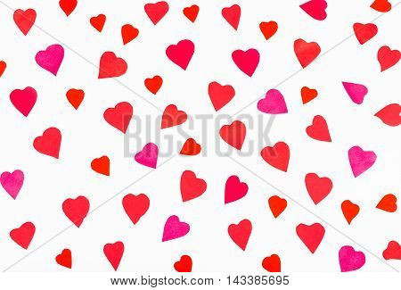 Many Pink And Red Hearts Carved From Paper