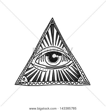 Hand drawn pyramid and eye vector illustration