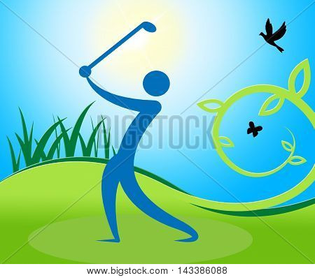 Golf Swing Man Indicates Fairway Golfer And Playing