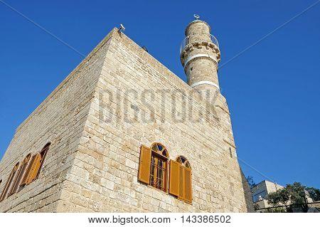 Mosque and the minaret of Jama al-Bahr or Sea Mosque in Jaffa Israel