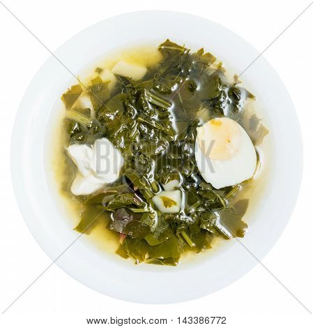 Top View Of Vegetarian Soup In Plate From Greens