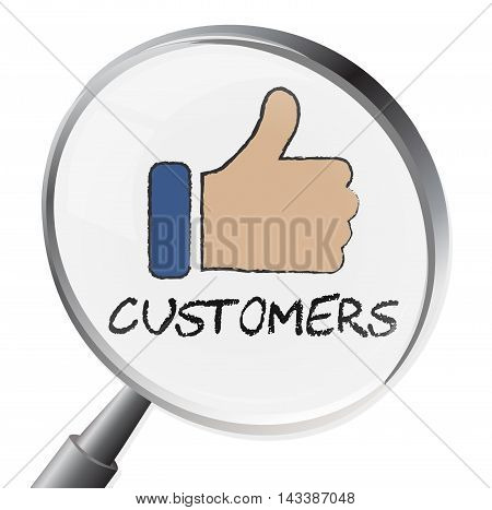 Customers Magnifier Means Consumers Purchaser 3D Illustration