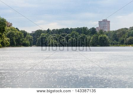 Summer Heavy Rain On City Pond
