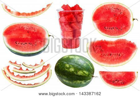 Set From Whole And Sliced Watermelons And Rinds