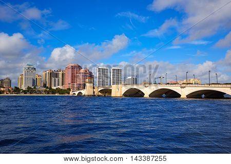 Palm Beach skyline royal Park bridge in Florida USA