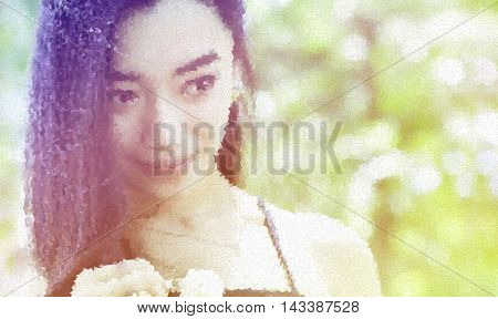 polygon photo close up portrait of charming woman in garden