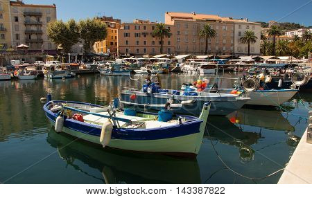The fishing port of Ajaccio Corsica island France.