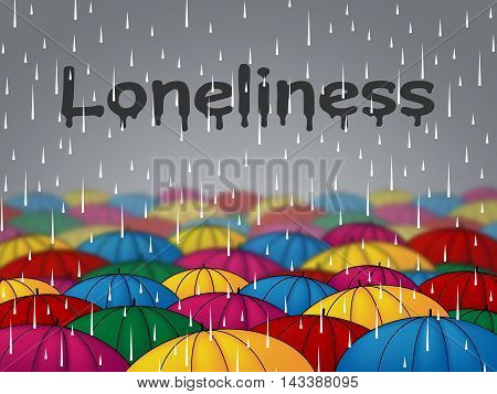 Loneliness Rain Shows Outcast Lonely And Rejected
