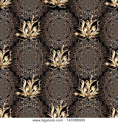 Black elegant stylish floral vector seamless pattern background with vintage  gold flowers and lace art ornaments. Stylish  illustration and 3d vintage decor elements with shadow and highlights. Endless elegant  texture.
