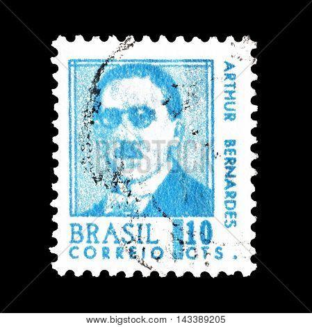 BRASIL - CIRCA 1967 : Cancelled postage stamp printed by Brasil, that shows Arthur Bernardes.