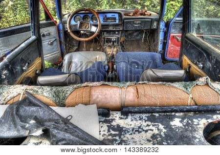 interior of the old broken car in the extended Dynamic Range