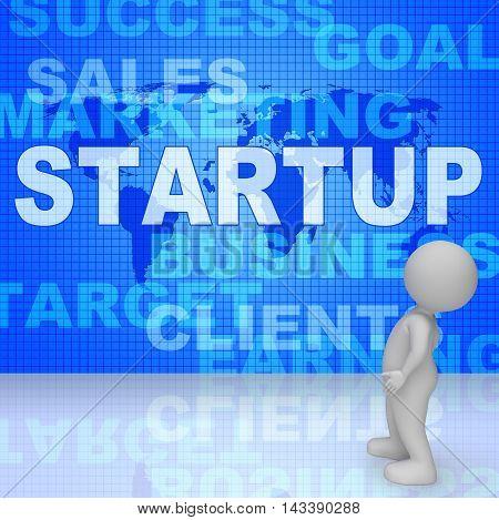 Startup Word Means Self Employed Entrepreneur 3D Rendering