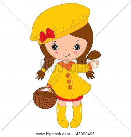 Vector little autumn girl in yellow coat with mushroom