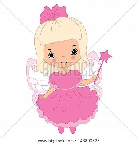 Vector cute little fairy with magic wand in pink dress