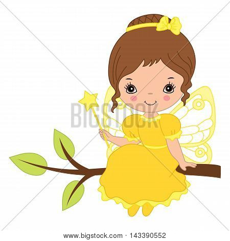 Vector cute little fairy with magic wand in yellow dress sitting on the branch