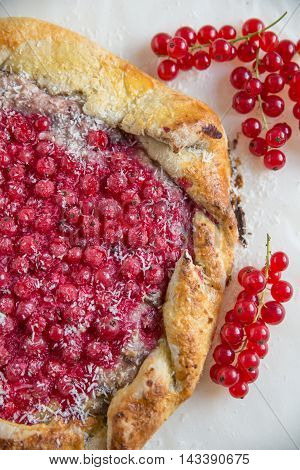 home made sweet Red Currant Galette with coconut