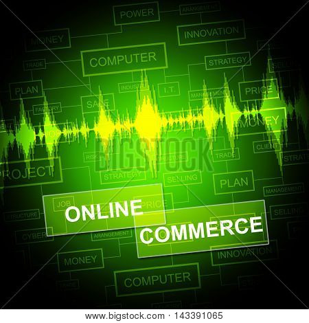 Online Commerce Means Internet Trade And Business