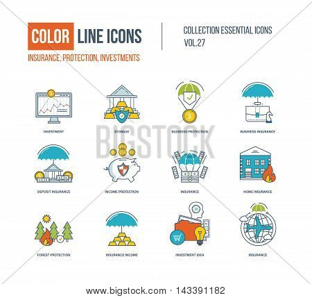 Color Line icons collection. Business insurance, investment, storage, business protection, investment idea, forest and home insurance