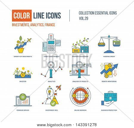 Color Line icons collection. Growth of investment, credit card payment, property investment, investor, analysis of project, remote monitoring, premium service, investment idea, online business