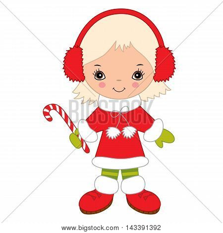 Vector Christmas little cute girl with candy stick