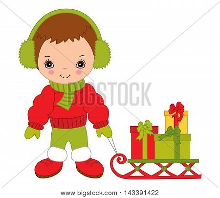 Vector Christmas little cute boy with sledge and gift boxes