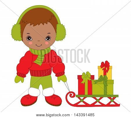 Vector African American Christmas little cute boy with sledge and gift boxes