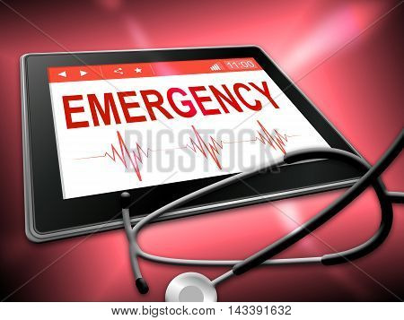 Emergency Tablet Indicates First Aid 3D Illustration