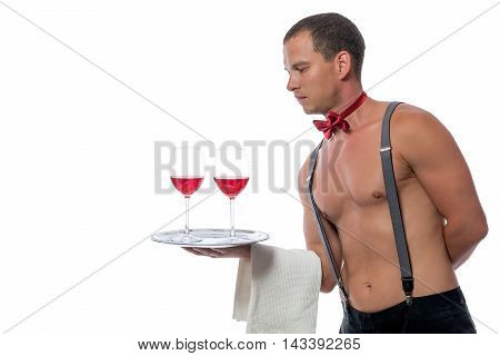 Stripper With Glasses Of The Wine On A White Background Isolated