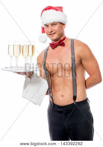 Vertical Portrait Of The Waiter With Champagne On A Tray