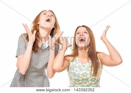 Funny And Emotional Girl On A White Background
