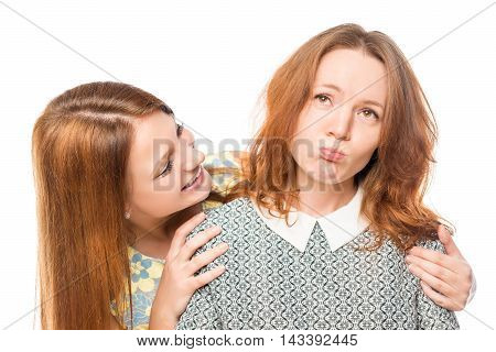 Caring Girl Comforting Her Distressed A Girlfriend, Isolation