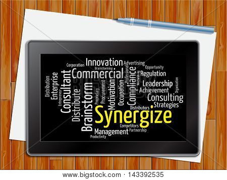 Synergize Word Indicates Working Together 3D Illustration