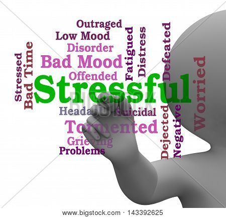 Stressful Word Means Pressure Overload 3D Rendering