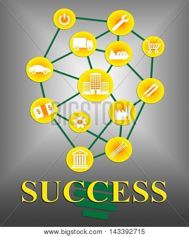Success Icons Indicate Successful Progress And Winning