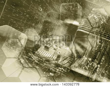 Electronic device and digits - abstract computer background in sepia.