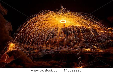Fire show amazing at night Sam pan bok Ubon-ratchathani North-east of Thailand