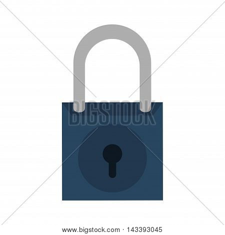 padlock blue security system metal icon. Flat and Isolated design. Vector illustration