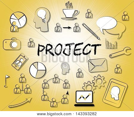 Project Icons Represent Task Plan Or Programme