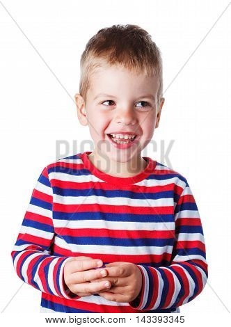 3-4 Years Cheerful Handsome Boy In A Striped Shirt Laughing Isol