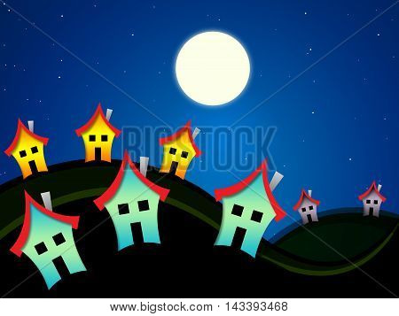 Houses At Nighttime Indicates Dark Evening Properties