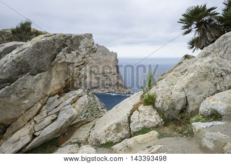Cape formentor on the island of Majorca in Spain. Cliffs along the Mediterranean Sea