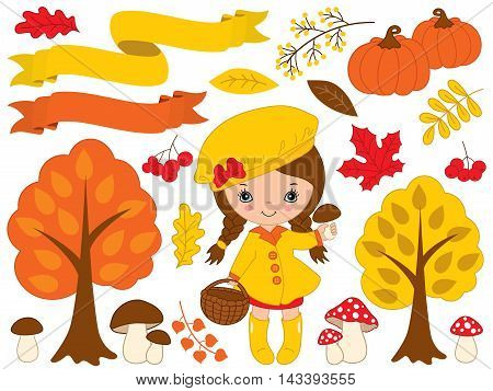 Vector autumn set with little girl pumpkins, ribbons, mushrooms, berries and trees