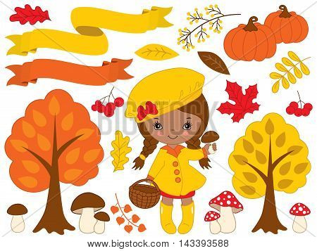 Vector autumn set with African American little girl pumpkins ribbons mushrooms berries and trees