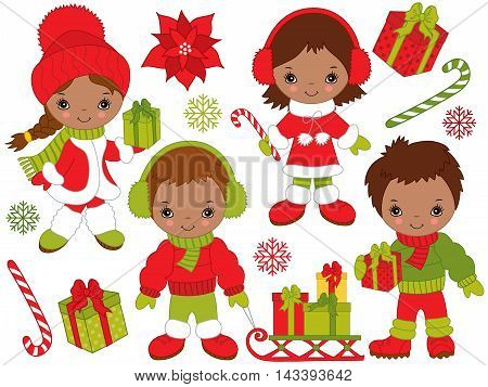 Vector African American Christmas little kids with gift boxes candy sticks in colorful coats