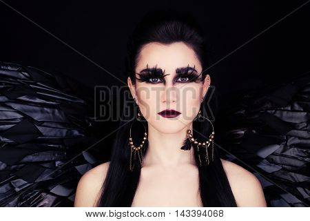 Fantasy Woman Black Angel or Black Raven